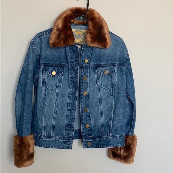 MK Faux Fur Trim Denim Jacket